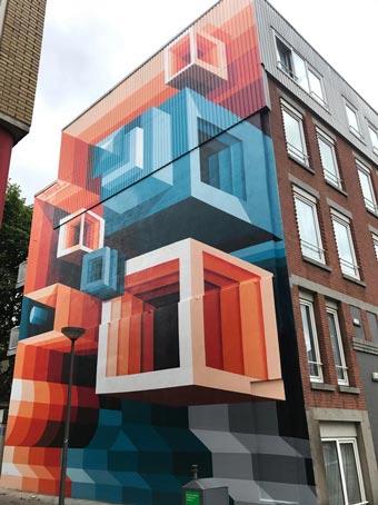 Graffiti sobre fachadas: efectos tridimensionales
