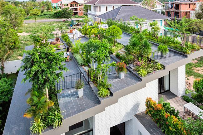 El jardín en una cubierta verde