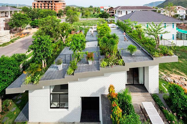 El jardín en un techo vegetal