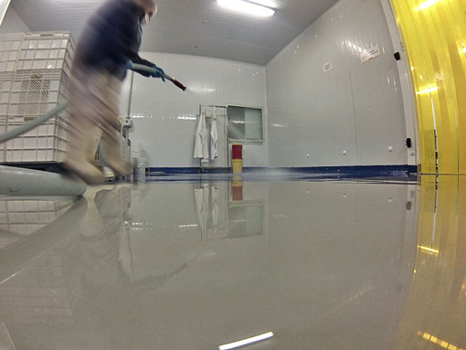Limpieza del suelo de la fábrica